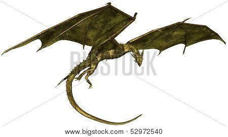 Green Scaled Dragon in Flight