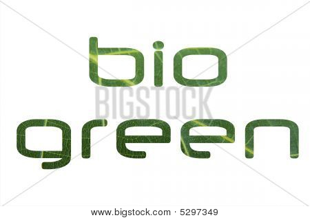 bio green isolated on a white background poster