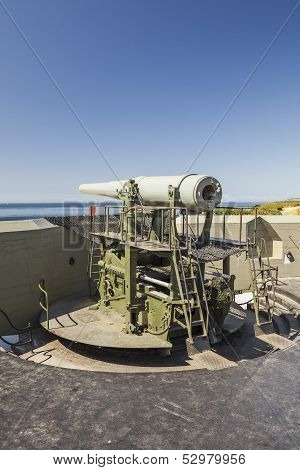 Coastal artillery gun at Fort Casey State Park Whidbey Island Washington poster