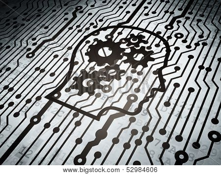 Education concept: circuit board with Head With Gears