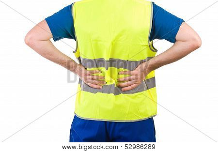 Image of a Blue collar worker with backache. poster