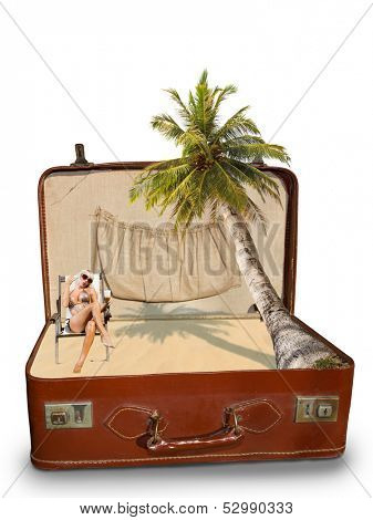 Blonde woman on the beach Package beach vacation retro suitcase