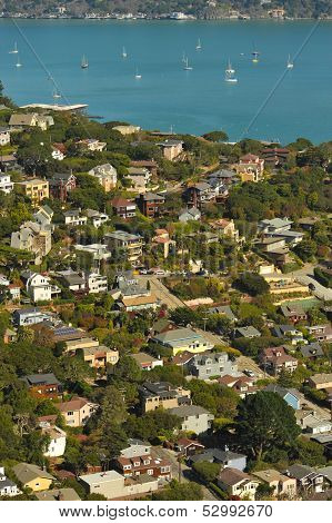 Sausalito Hillside Homes And Bay With Sailboats, Ferry