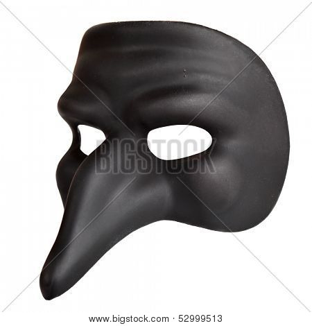 Traditional venice mask with big nose isolated over the white background