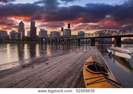 Sunset Landscape Of Portland, Oregon, Usa.