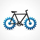 Vector Illustration of Bicycle with cog wheel poster