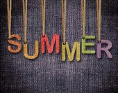 Summer letters hanging strings with blue sackcloth background. poster