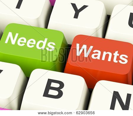 Needs Wants Keys Showing Necessities And Wishes poster