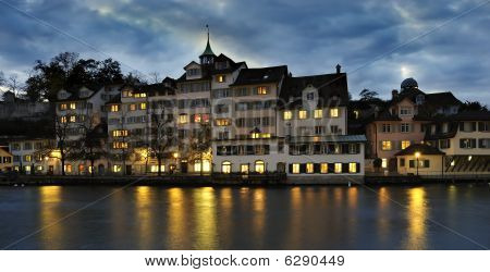Zurich with river Limmat by night