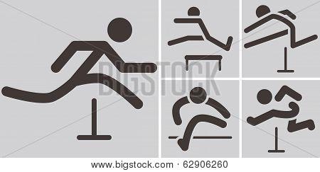 Running Hurdles Icons