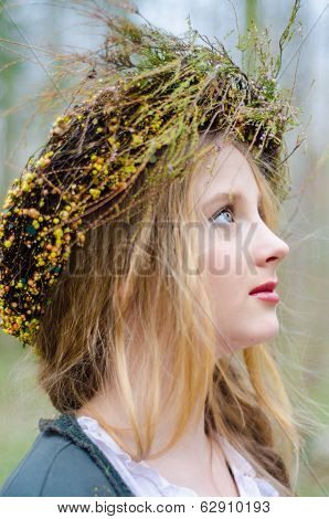 Close Up Profile Portrait Of A Girl In A Folk  Medieval Style