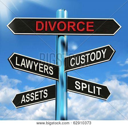 Divorce Signpost Means Custody Split Assets And Lawyers