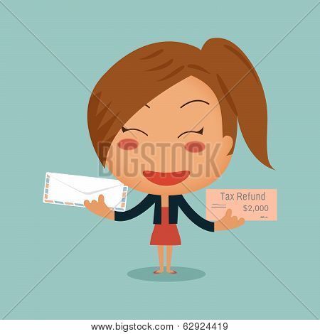 Business Woman Showing Tax Refund Cheque Sent By Mail In Her Hands