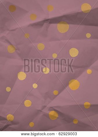 Purple wrapping paper with big yellow and violet dots on crumpled paper texture - vintage background poster