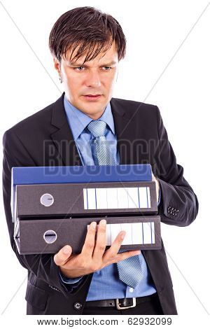 Young Businessman Holding Many Folders