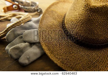 Cowboy hat and work gloves, rope, and spurs in the background.