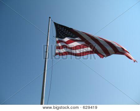 US Flag At Chimney Rock, NC