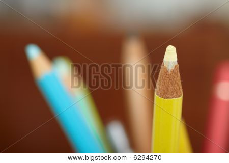 Education - Sharpened Colourful Pencil With Copy Space