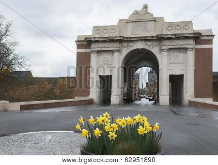 Daffodils In Front Of Menin Gate In Ypres.