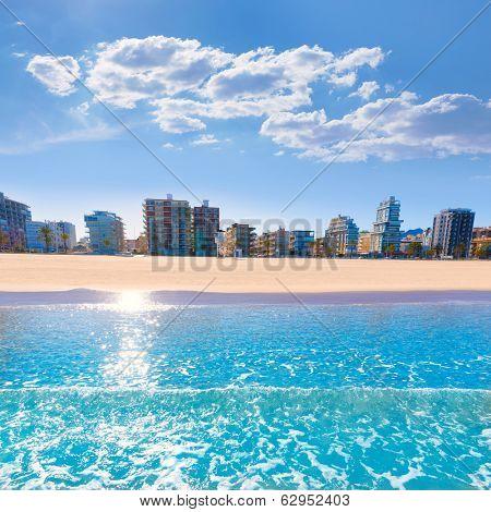 Gandia playa nord beach shore in Valencia at Mediterranean Spain poster