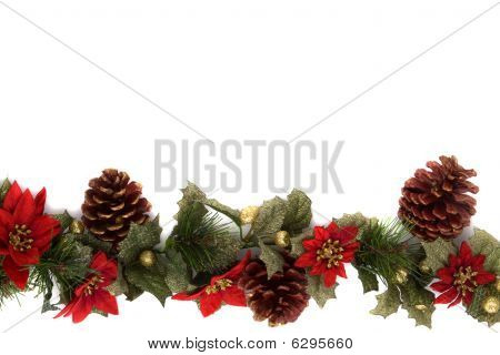 Poinsettia And Christmas Decoration Border, Side Border