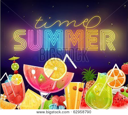 Summer Holidays Vector Illustration Set with Cocktails, Sky, Sea, Fruits and Berries. Neon Sign Summer Time. Summer Night Beach Party Banner Design Template.