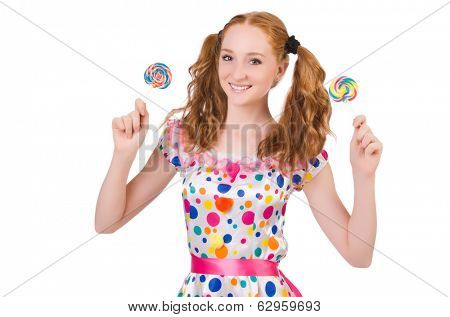 Redhead young girl with lolipops isolated on white poster