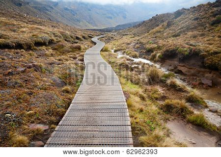 Public tramping track at Tongariro National Park in New Zealand