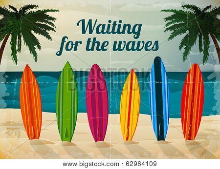 Holiday surfboards on the ocean beach