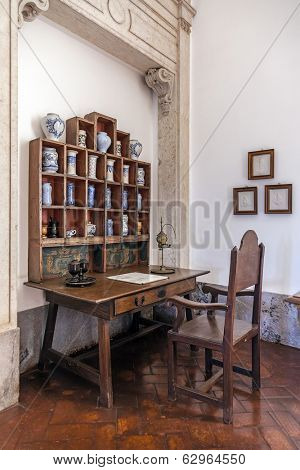 Mafra, Portugal - December 02, 2013: 18th Century Apothecary or Pharmacy in the Mafra National Palace, Convent and Basilica. Franciscan Religious Order.
