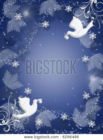 Christmas Background Holly doves sparkle