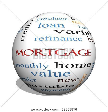 Mortgage 3D sphere Word Cloud Concept with great terms such as loan home banker and more. poster