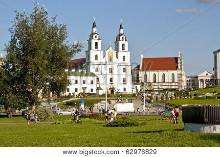 MINSK, BELARUS - AUGUST 2: Holy Spirit Cathedral in Minsk, Belarus  View of Orthodox Church and Hist