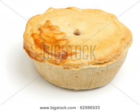 Individual steak pie on white background.