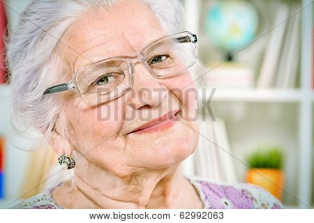 Portrait of a smiling senior woman at home.
