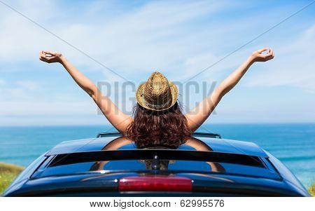 Woman On Car Travel Freedom Enjoying Freedom