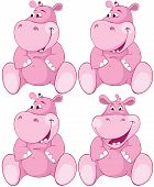 Pink hippopotamus - first teeth. Vector illustration poster