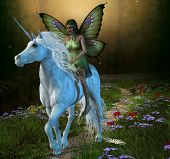 A fairy rides a white unicorn down a path in the magical forest. poster