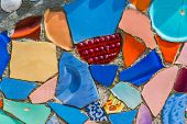 Closeup of Watts Towers Wall faced with colorful ceramics poster
