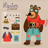 Hipster character pack for geek animal teddy bear with accessory clothing and facial elements vector illustration poster