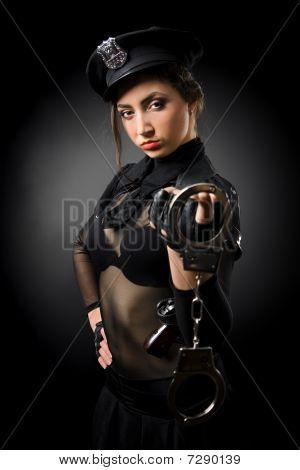 policewoman in a black uniform