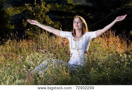 Woman Taking A Breath