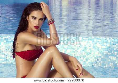 Sensual Brunette Woman In Water