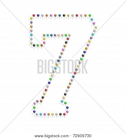 Number Seven With Pushpin