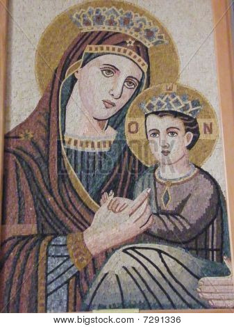 Mosaic of Jesus Christ and his mother Maria as seen in the church of Madaba, Jordan poster