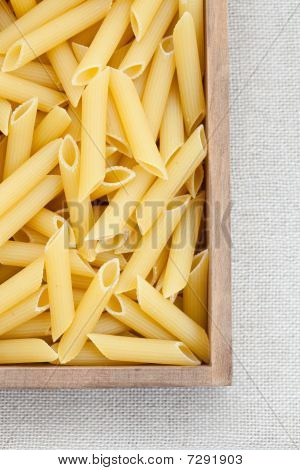 Dried Pasta In A Wooden Box