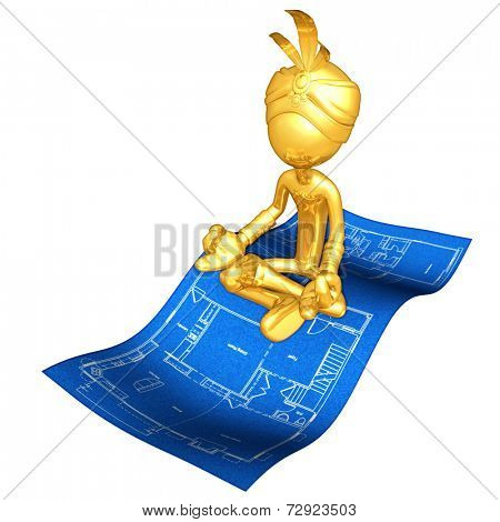 Gold Guy Djinn On Home Construction Blueprint Magic Carpet