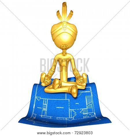 Gold Guy Djinn On Home Construction Blueprint Magic Carpet
