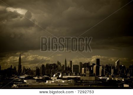 New York City Sky Line With a Stormy Sky