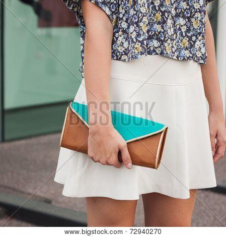 Detail Of Bag Outside Jil Sander Fashion Shows Building For Milan Women's Fashion Week 2014